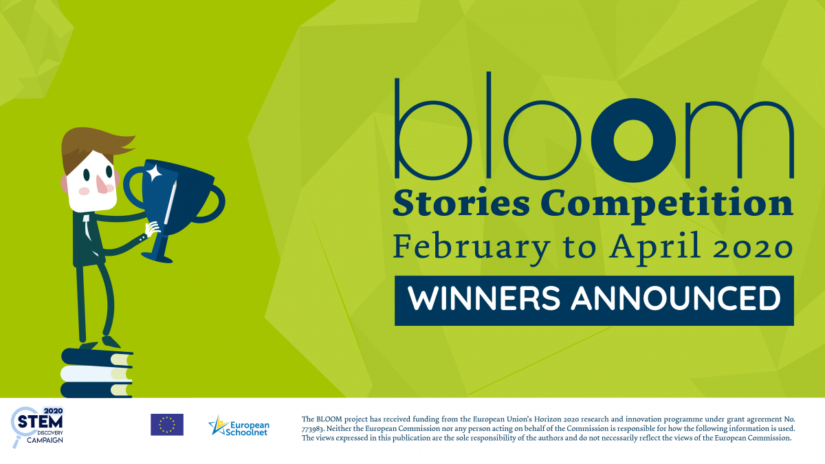 Visual announcing the winners of the BLOOM Stories Competition