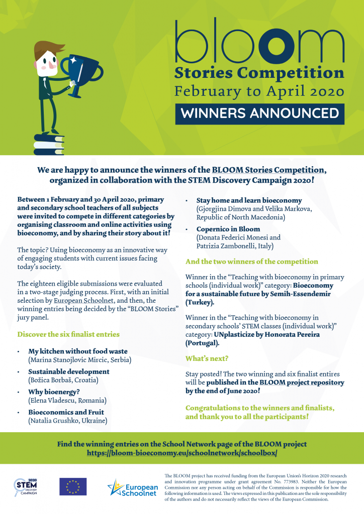 One-pager announcing the winners and finalists of the BLOOM Stories Competition